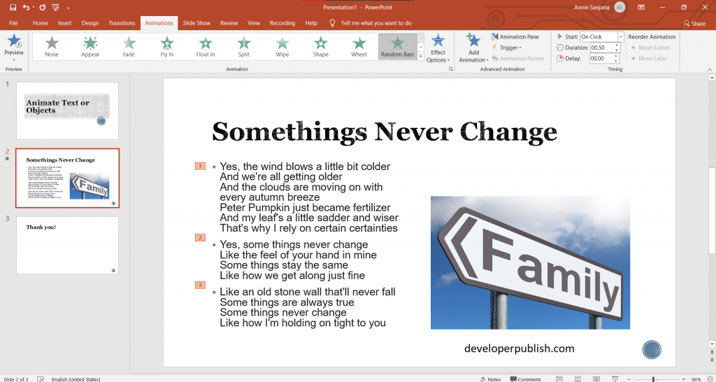 Animate Text or Objects in PowerPoint