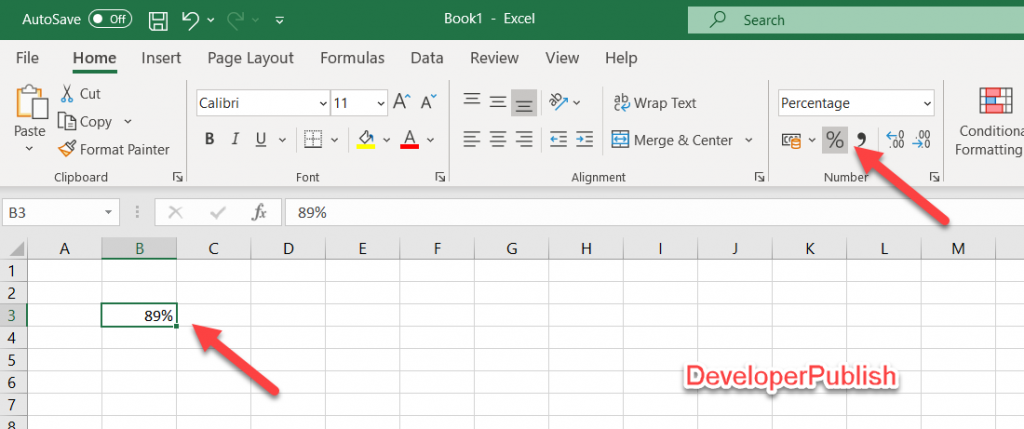 How to apply Percentage Format in Excel?