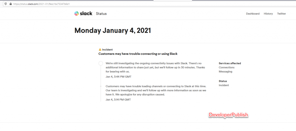 Slack is Down : Starts the New Year with outage