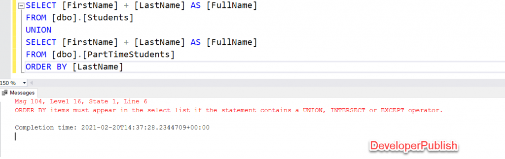 SQL Server Error Msg 104 - ORDER BY items must appear in the select list if the statement contains a UNION, INTERSECT or EXCEPT operator