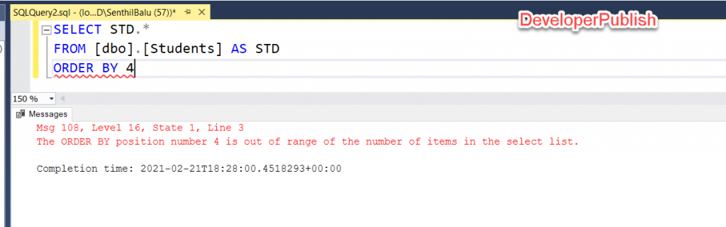 SQL Server Error Msg 108 - The ORDER BY position number 4 is out of range of the number of items in the select list