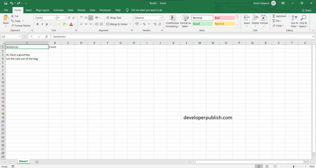Count Number of Words in Excel