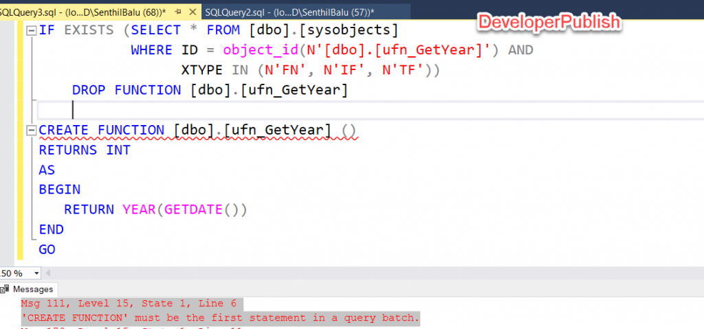 SQL Server Error Msg 111 - 'CREATE FUNCTION' must be the first statement in a query batch