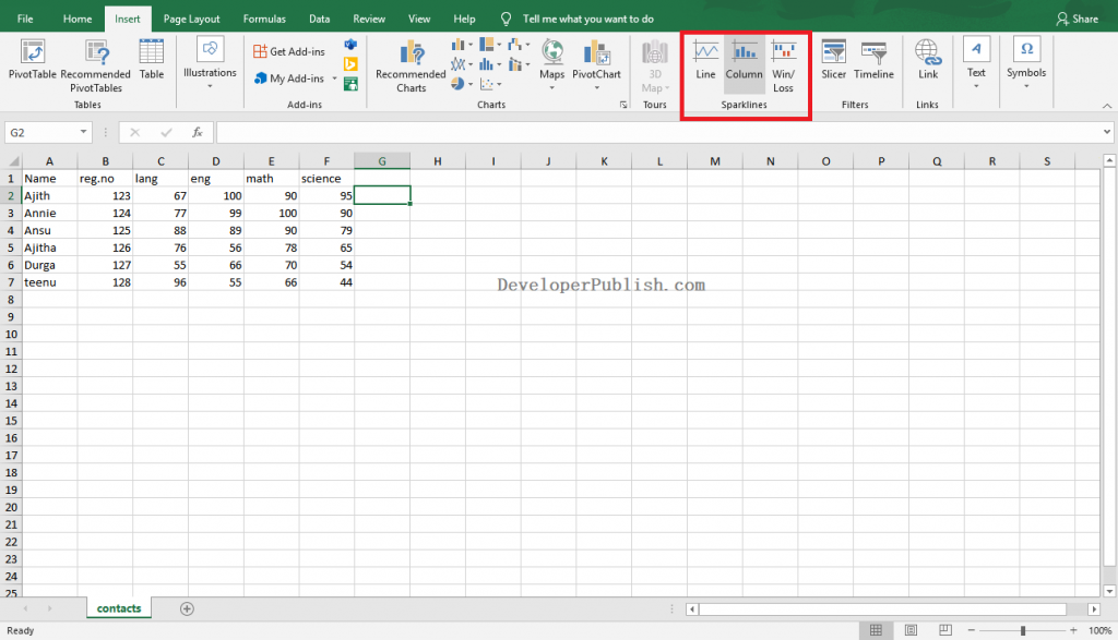 How to add Sparklines in Excel?