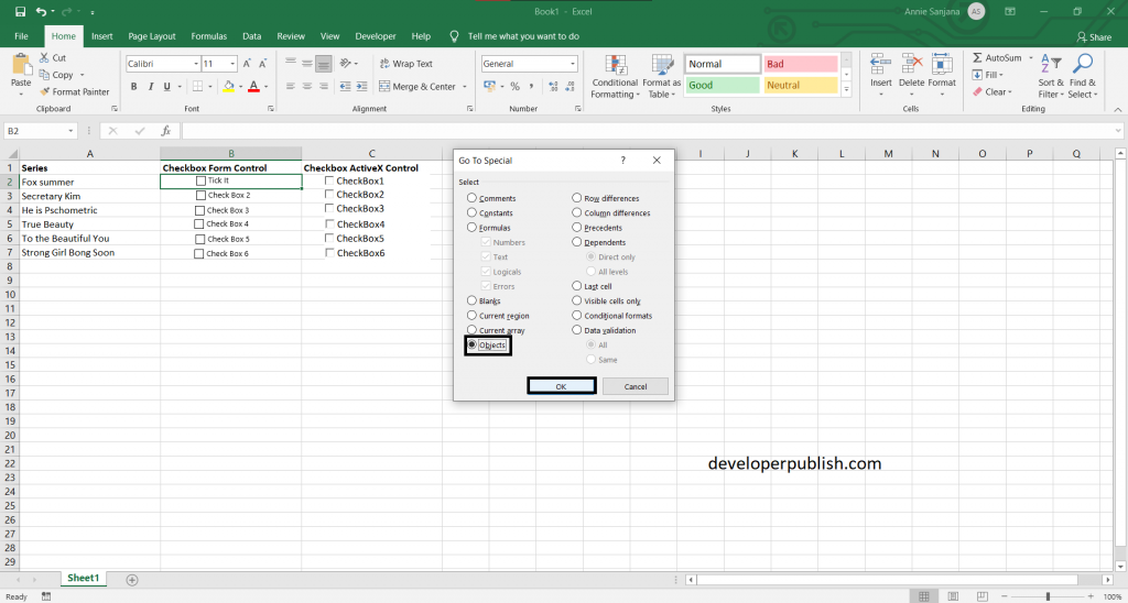 How to add and delete multiple checkboxes in Excel?