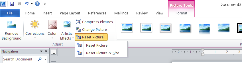 How to Reset Picture Command in Word?