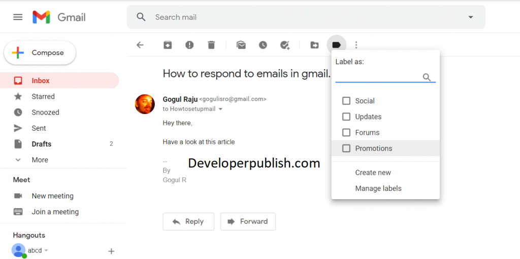 Labels in Gmail