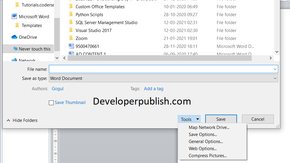 Tools Menu in the Save As Dialog Box in Word
