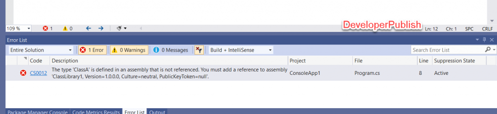 C# Error CS0012 - The type 'type' is defined in an assembly that is not referenced