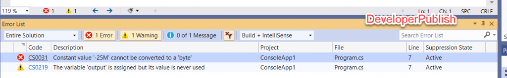 C# Error CS0031- Constant value 'value' cannot be converted to a 'type'