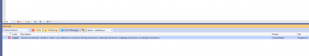 C# Error CS0039 – Cannot convert type 'type1' to 'type2' via a reference conversion, boxing conversion, unboxing conversion, wrapping conversion, or null type conversion