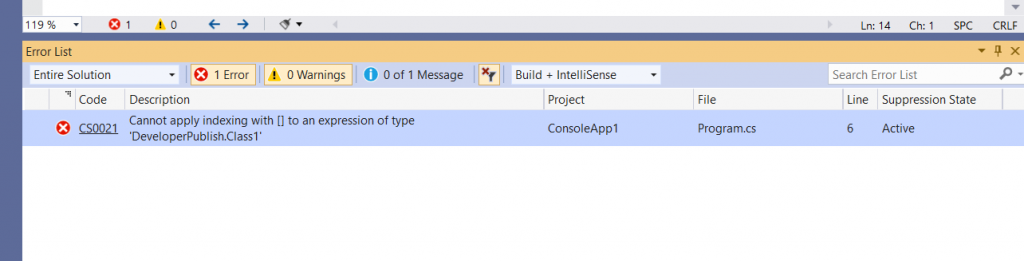 C# Error CS0021 - Cannot apply indexing with [] to an expression of type 'type'