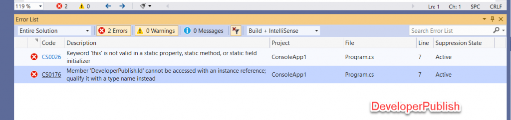 C# Error CS0026 - Keyword 'this' is not valid in a static property, static method, or static field initializer