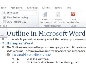 Outline in Microsoft Word