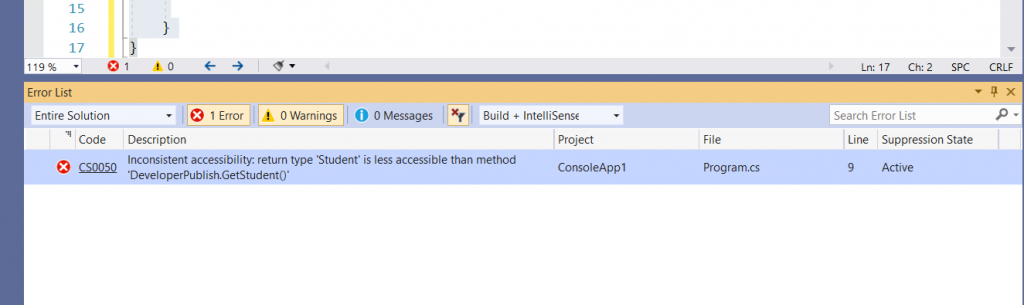 C# Error CS0050 – Inconsistent accessibility: return type 'type' is less accessible than method 'method'