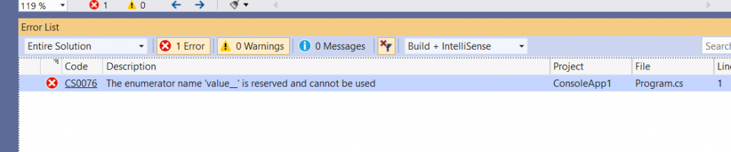 C# Error CS0076 – The enumerator name 'value__' is reserved and cannot be used