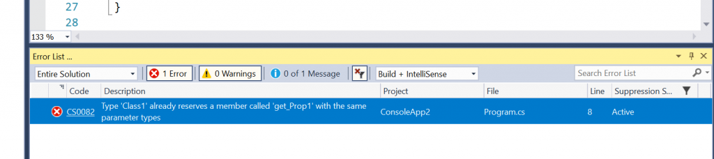 C# Error CS0082 – Type 'type' already reserves a member called 'name' with the same parameter types