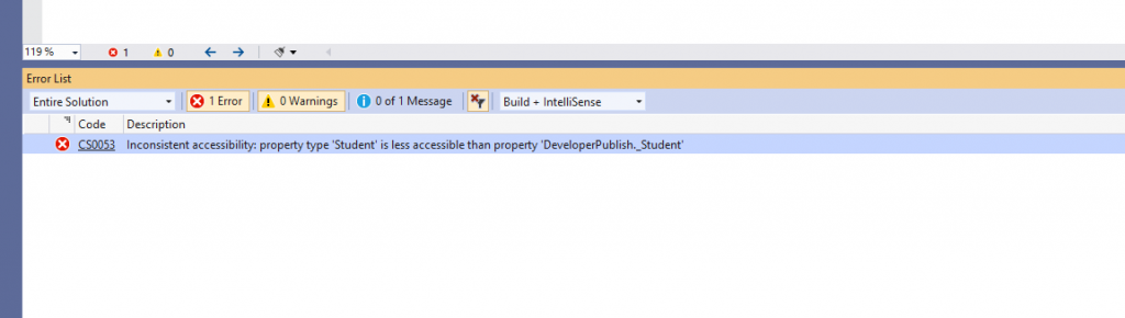 C# Error CS0052 – Inconsistent accessibility: field type 'type' is less accessible than field 'field'