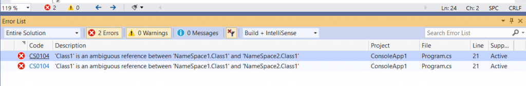C# Error CS0104 – 'reference' is an ambiguous reference between 'identifier' and 'identifier'