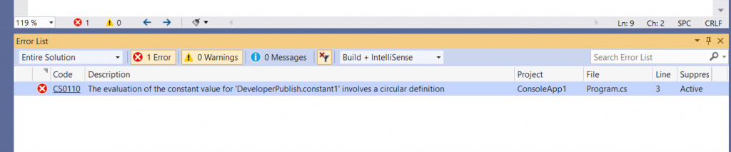 C# Error CS0110 – The evaluation of the constant value for 'const declaration' involves a circular definition