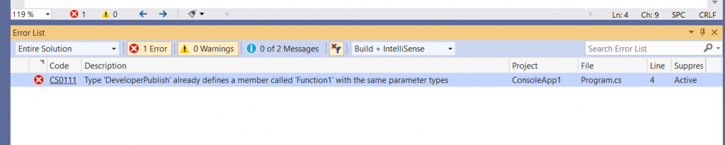 C# Error CS0111 – Type 'class' already defines a member called 'member' with the same parameter types