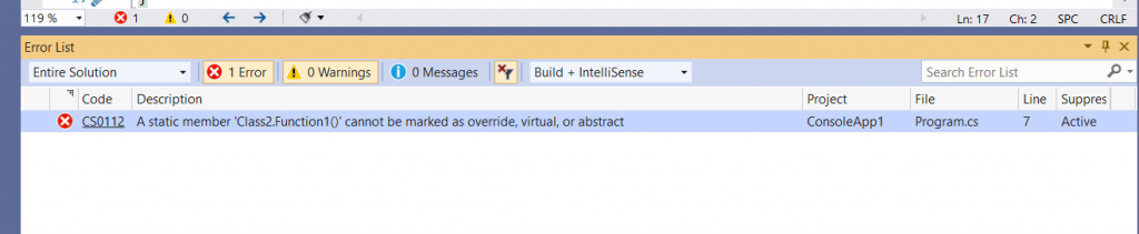 C# Error CS0112 – A static member 'function' cannot be marked as override, virtual or abstract