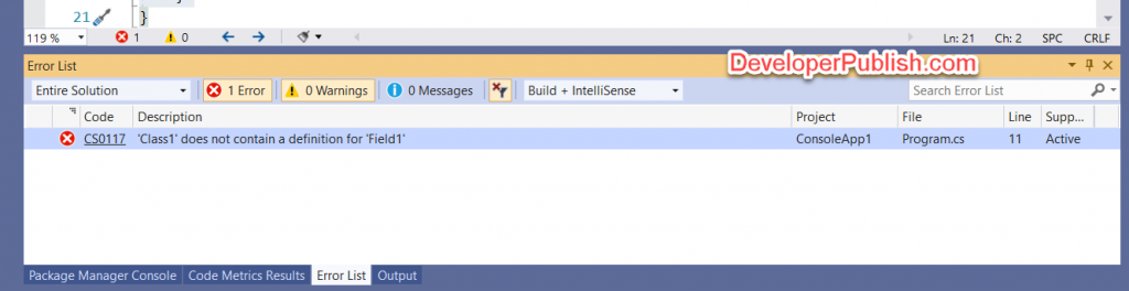 C# Error CS0117 – 'type' does not contain a definition for 'identifier'