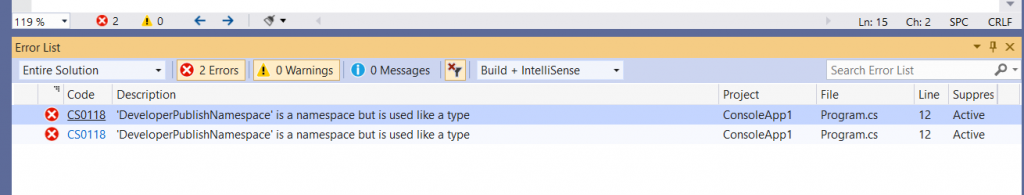 C# Error CS0118 – construct1_name' is a 'construct1' but is used like a 'construct2'