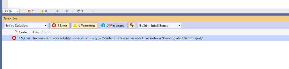 C# Error CS0054 – Inconsistent accessibility: indexer return type 'type' is less accessible than indexer 'indexer'