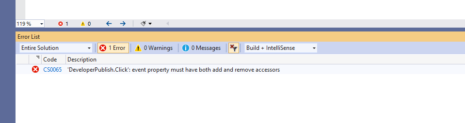 C# Error CS0066 – 'event' : event property must have both add and remove accessors