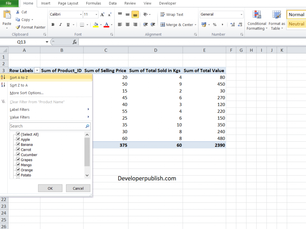 How to Sort a Pivot Table in Excel?