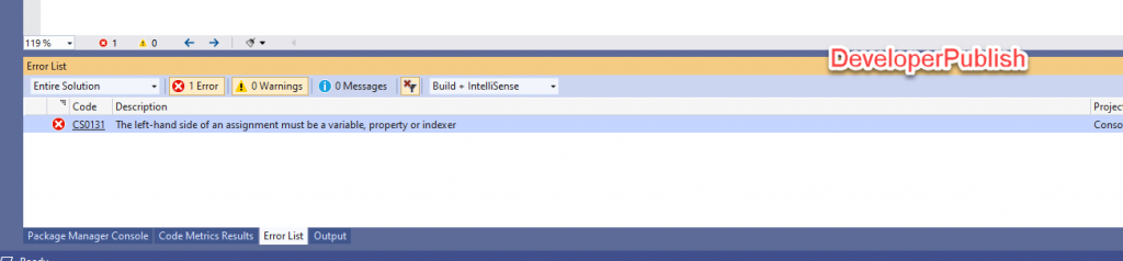 C# Error CS0131 – The left-hand side of an assignment must be a variable, property or indexer