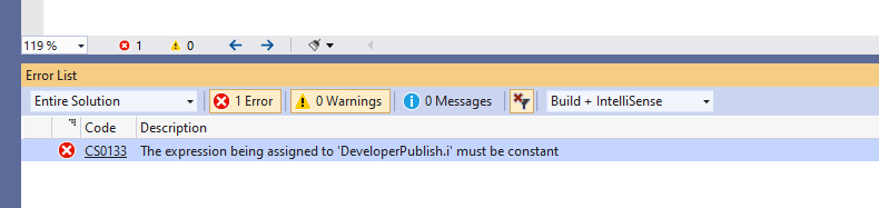 C# Error CS0133 – The expression being assigned to 'variable' must be constant