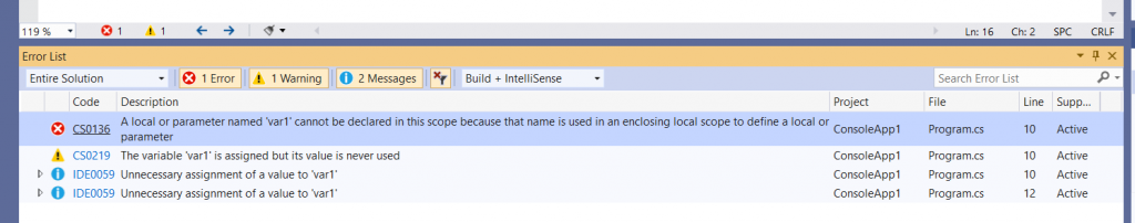 C# Error CS0136 – A local variable named 'var' cannot be declared in this scope