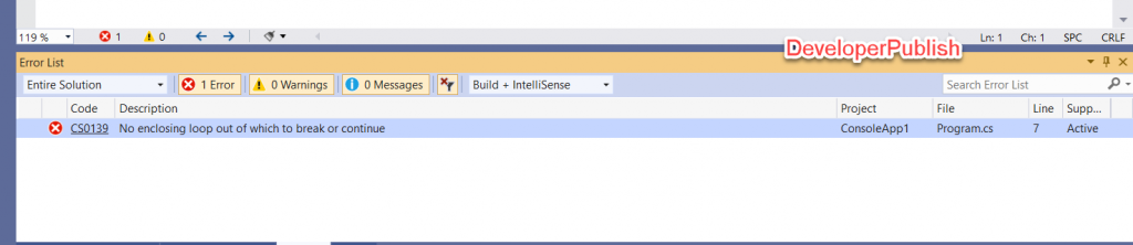 C# Error CS0139 – No enclosing loop out of which to break or continue