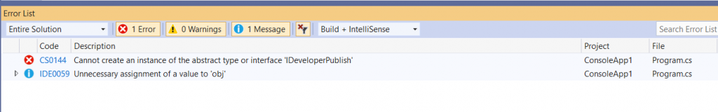 C# Error CS0144 – Cannot create an instance of the abstract class or interface 'interface'