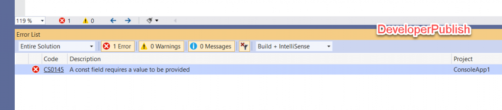 C# Error CS0145 – A const field requires a value to be provided
