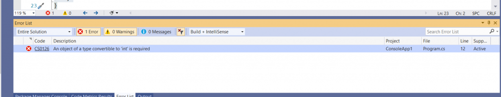 C# Error CS0126 – An object of a type convertible to 'type' is required