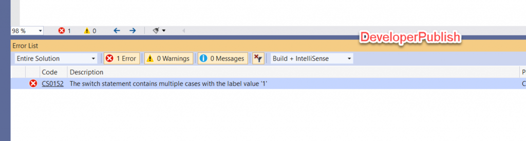 C# Error CS0152 – The switch statement contains multiple cases with the label value