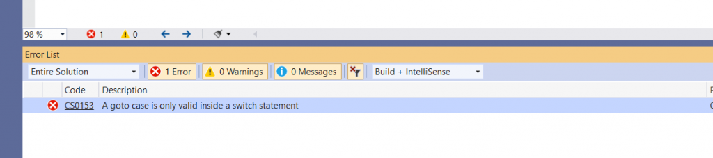 C# Error CS0153 – A goto case is only valid inside a switch statement