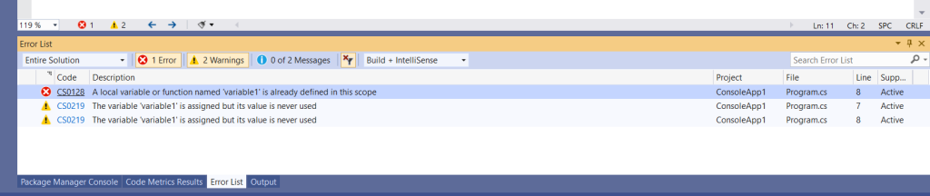 C# Error CS0128 – A local variable named 'variable' is already defined in this scope