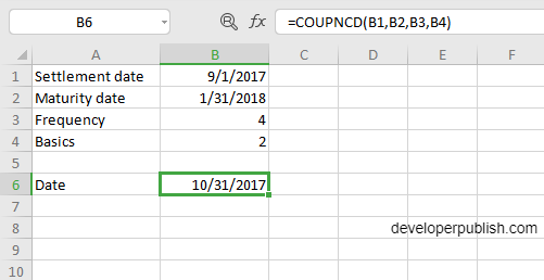 COUPNCD Function in Excel