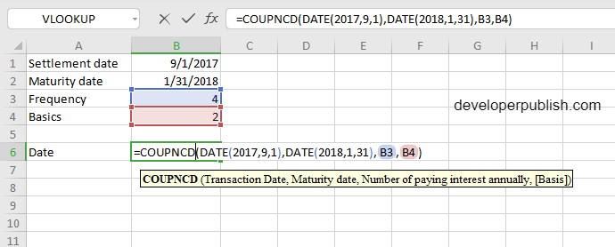 How to use COUPNCD function in Excel?