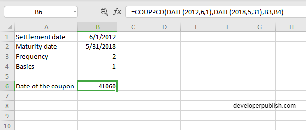 COUPPCD Function in Excel