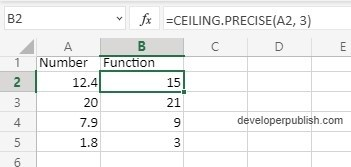 How to use Ceiling.precise function in Excel?