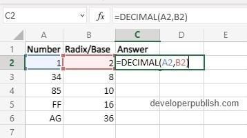 How to use DECIMAL Function in Excel?