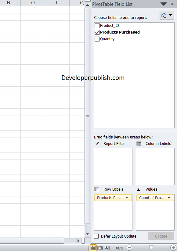 Summarizing with Blank Cells in Pivot Table