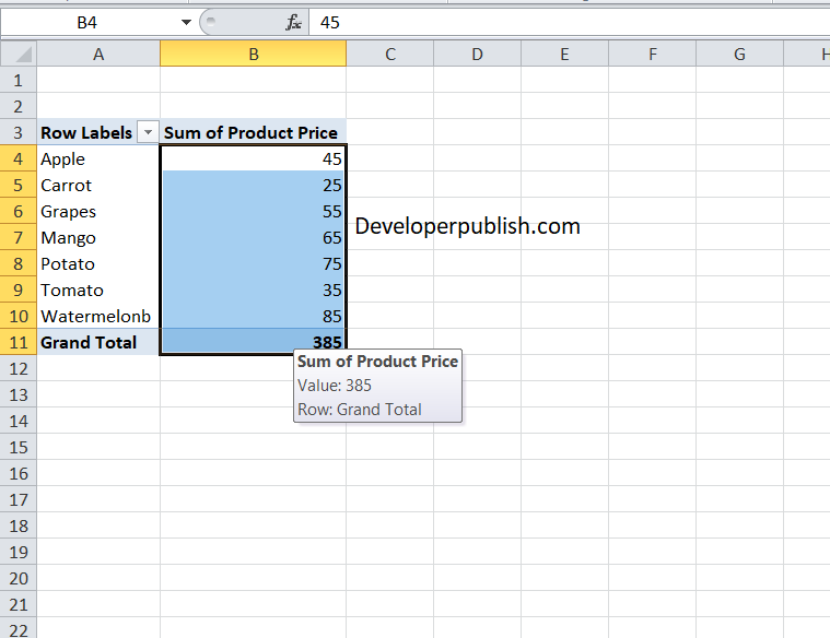 Formatting Values for Pivot Tables in Excel