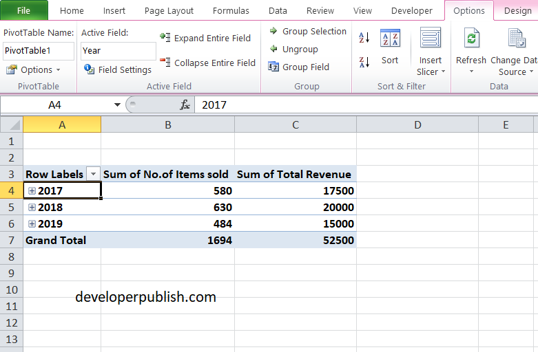 Nested Fields in Excel PivotTable