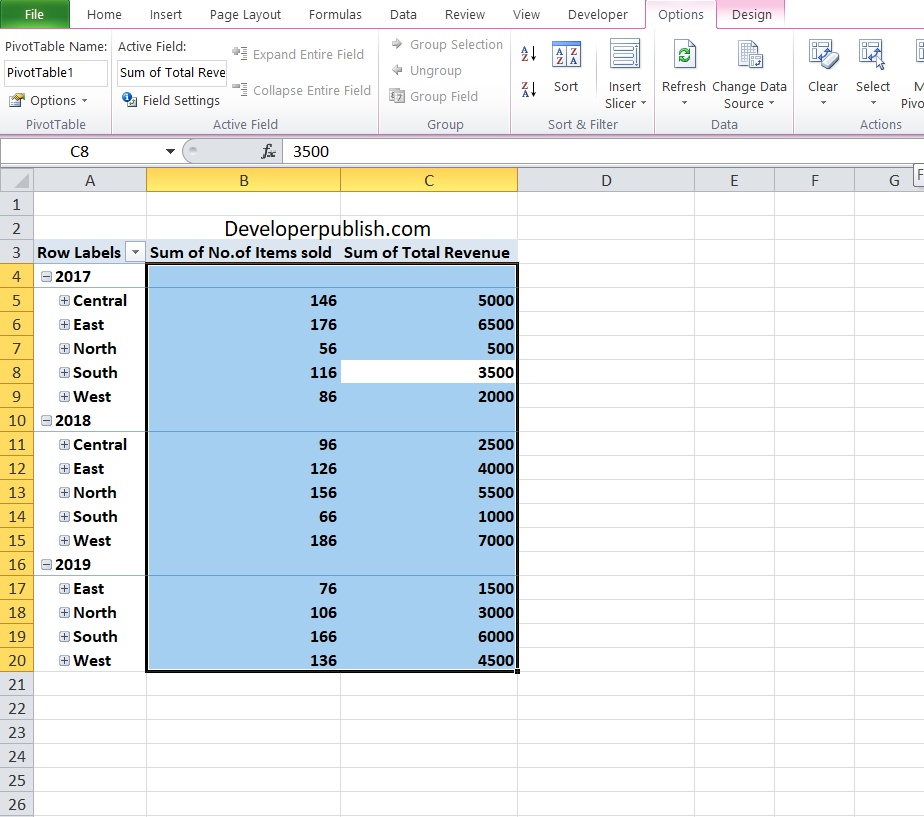 Selecting, Moving, & Clearing Pivot Table Data in Excel